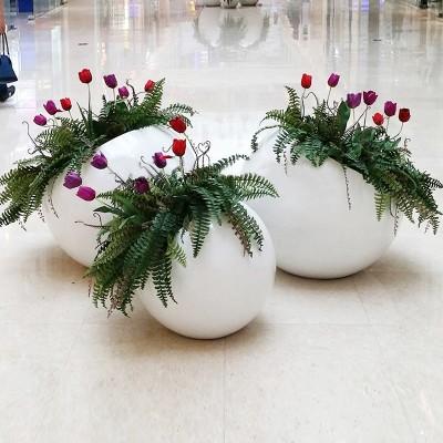 玻璃钢球形花钵