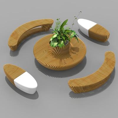 玻璃钢木艺切片座椅