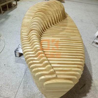 实木切片休闲椅
