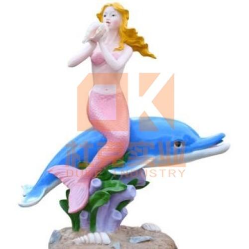 玻璃钢海滩人鱼雕塑