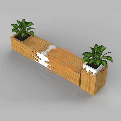 木艺玻璃钢花盆座椅