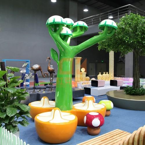 玻璃钢蘑菇树雕塑