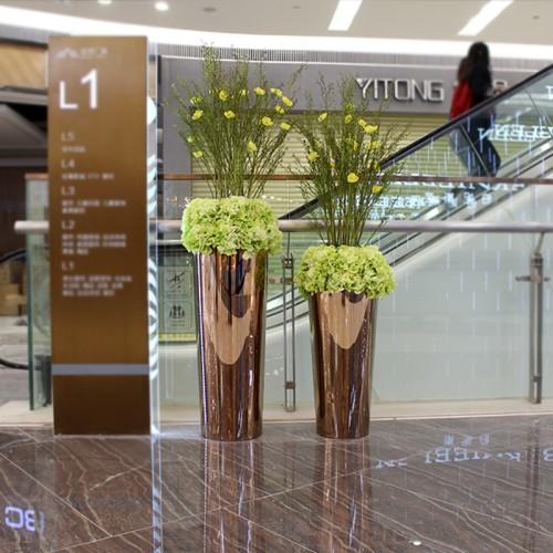 不锈钢金属圆形花盆