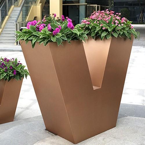 不锈钢V型花器