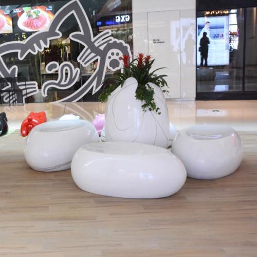 玻璃钢蛋壳花盆座椅组合