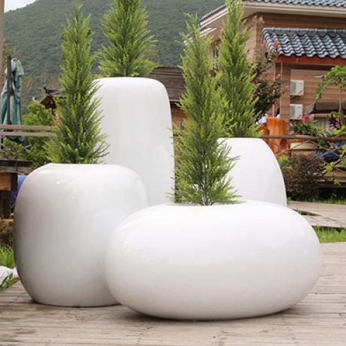 玻璃钢蛋形花盆组合