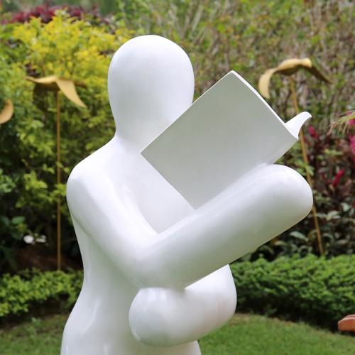 玻璃钢看书雕塑