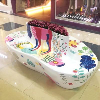 玻璃钢心形花器座椅