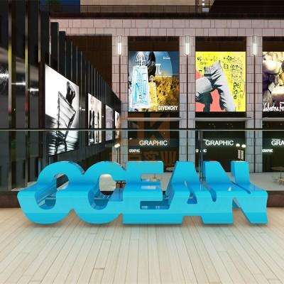 玻璃钢海洋字母坐凳