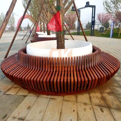 户外木艺玻璃钢树池坐凳