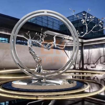 不锈钢圆环树枝雕塑