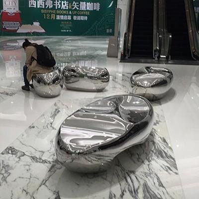 镜面不锈钢鹅卵石坐凳