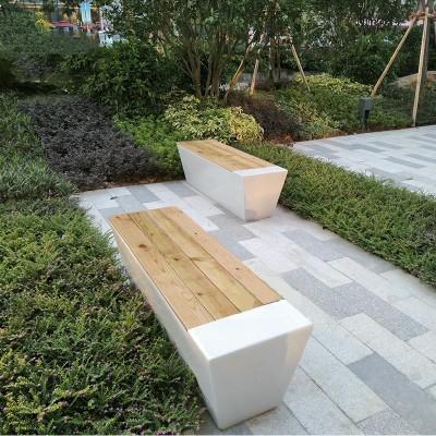 玻璃钢户外实木面长条景观坐凳