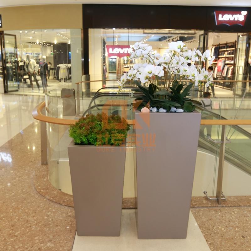 玻璃钢四方落地花盆组合,让您的身边多一点色彩!