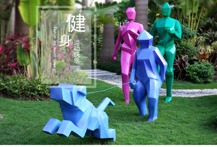 玻璃钢抽象人物雕塑