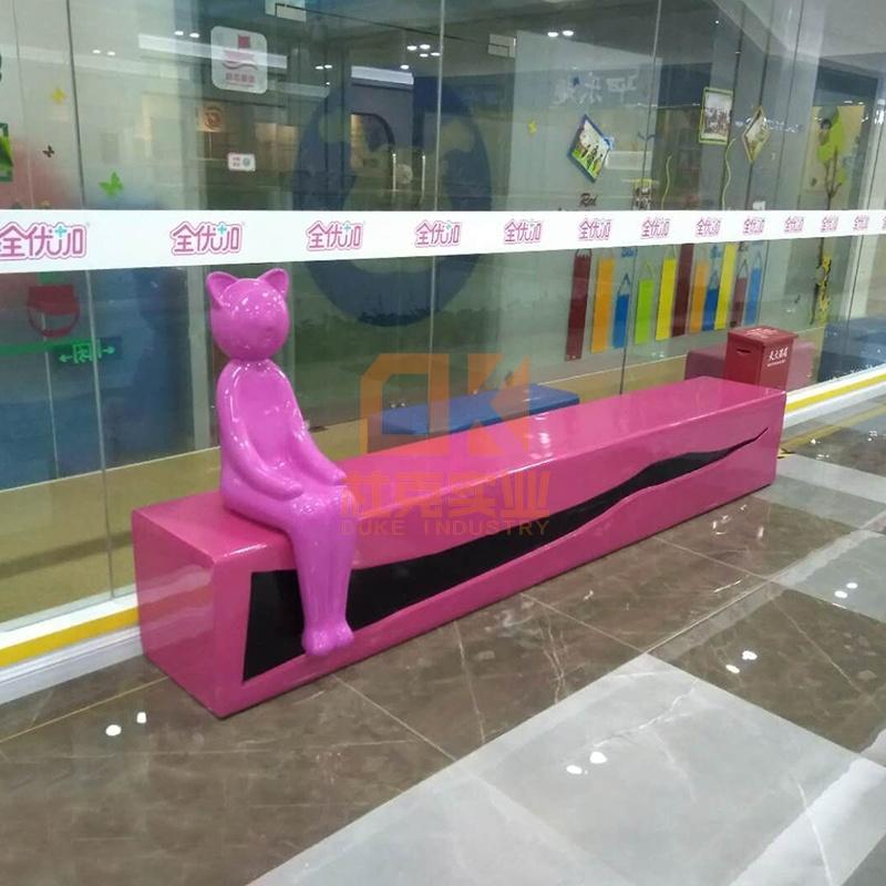 玻璃钢猫咪雕塑座椅,时尚又实用的户外休闲椅!