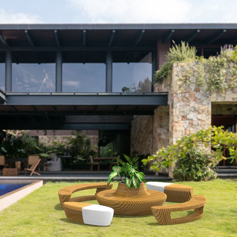 木纹拼接休闲坐凳,玻璃钢和木质材质结合的又一杰作!