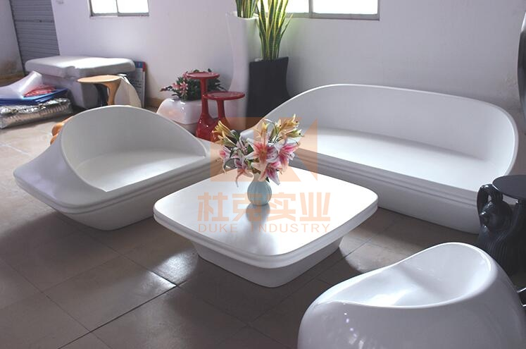 玻璃钢休闲沙发茶几组合