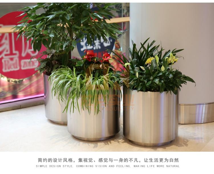 不锈钢圆柱花盆