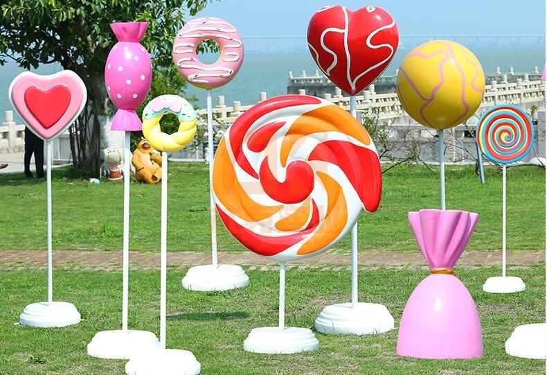 玻璃钢糖果雕塑系列,卡通风糖果来了!