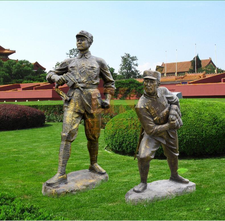 玻璃钢仿铜八路军人物雕塑