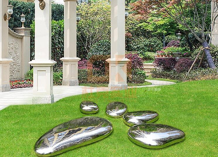 不锈钢水滴镜面石头雕塑坐凳