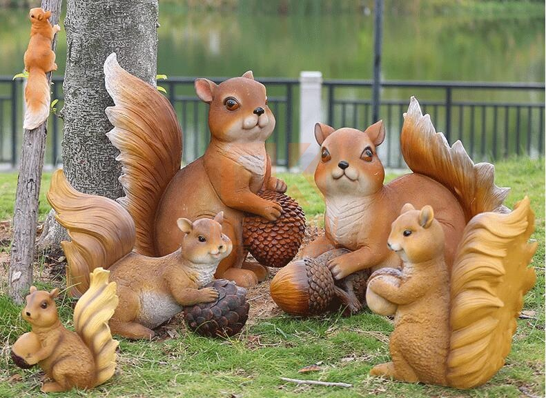 玻璃钢仿真松鼠雕塑,超级可爱的松鼠!