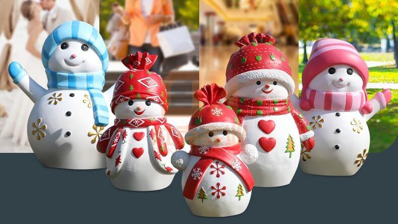 玻璃钢卡通雪人雕塑,圣诞美陈必备!