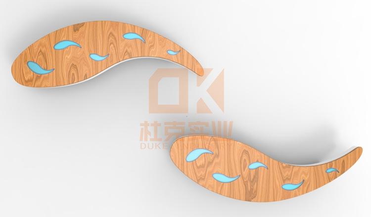 玻璃钢+木艺鱼坐凳