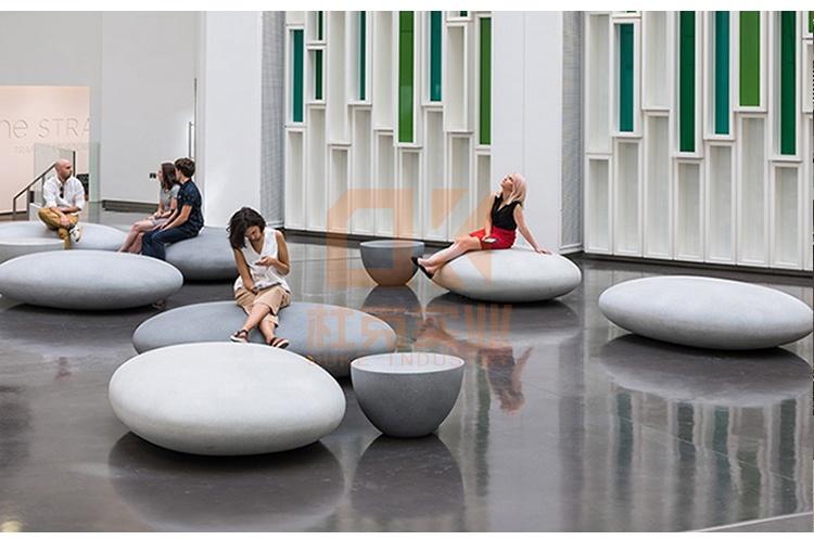 玻璃钢户外创意鹅卵石坐凳