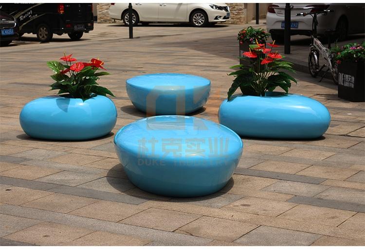 玻璃钢创意水滴花盆坐凳