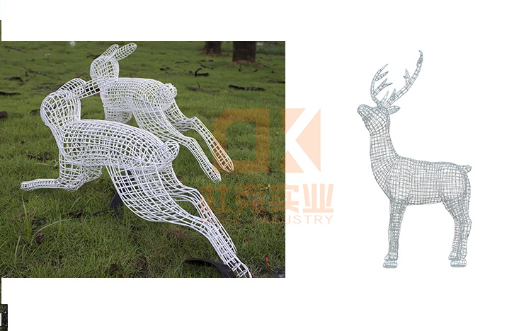 不锈钢镂空鹿雕塑