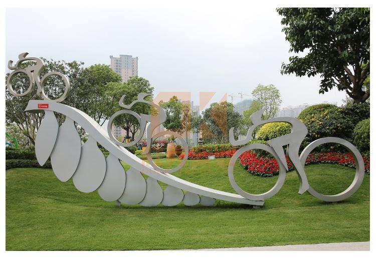 不锈钢自行车比赛雕塑