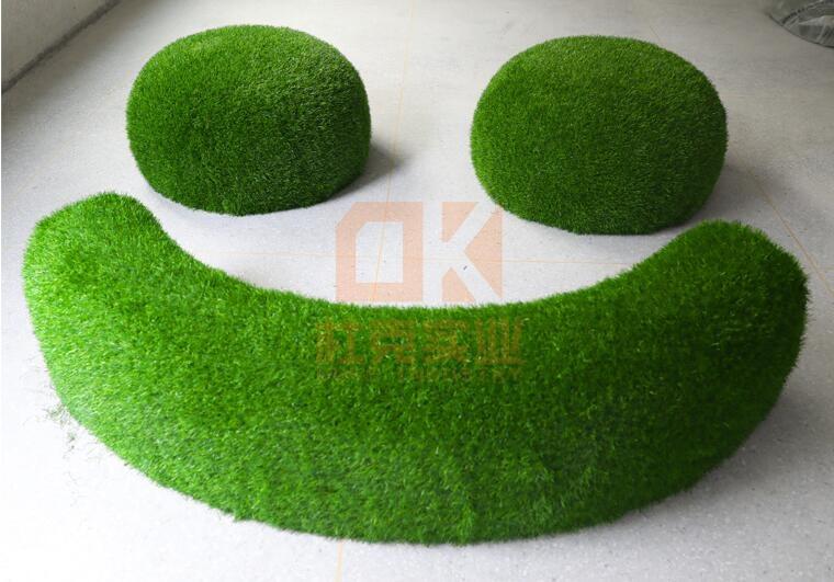 玻璃钢草皮坐凳,绿植现代座椅!