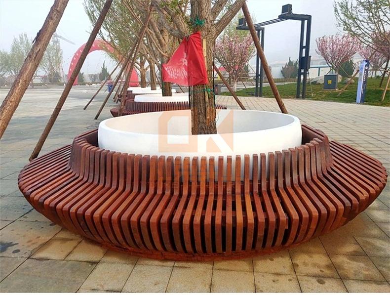 户外菠萝格木质玻璃钢树池坐凳