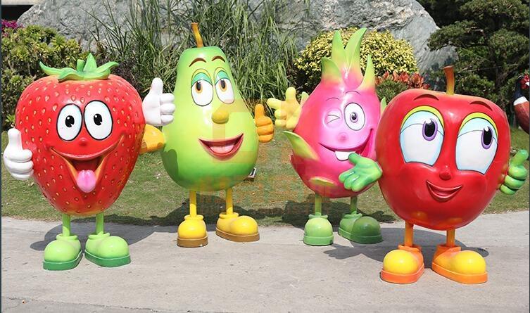 卡通水果雕塑,园林景观中的精灵!