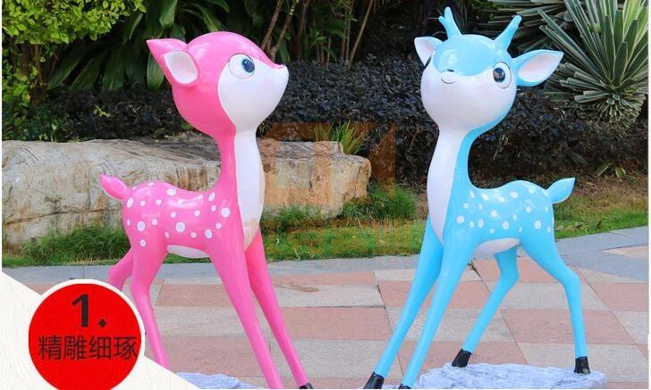 卡通梅花鹿玻璃钢雕塑,园林景观雕塑定制首选!