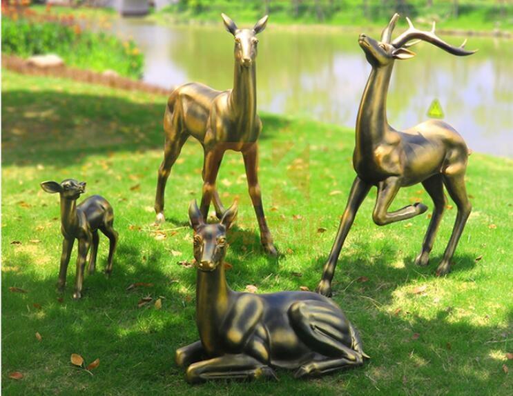 玻璃钢仿铜雕塑定制,仿铜鹿雕塑独占鳌头!