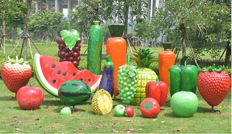 玻璃钢水果雕塑摆件,好看的景观雕塑摆件!