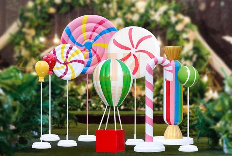 玻璃钢糖果气球礼盒雕塑摆件,婚庆商场美陈都喜欢雕塑摆件!