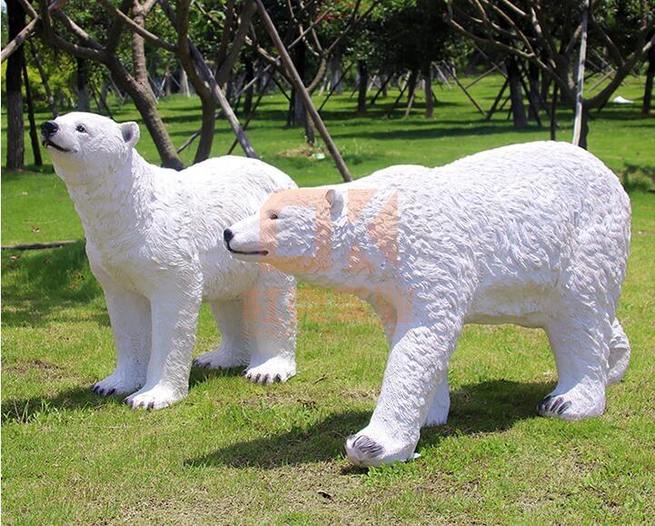 玻璃钢北极熊雕塑,公园小区动物雕塑!
