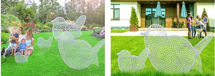 不锈钢镂空小鸟雕塑