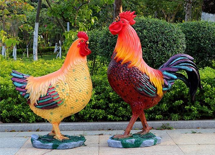 玻璃钢仿真大公鸡雕塑,清新自然!