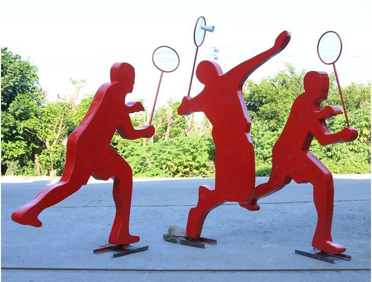 玻璃钢羽毛球运动抽象人物雕塑,简约现代的落地摆件!