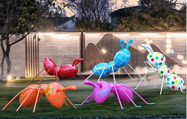玻璃钢蚂蚁雕塑,草坪景区装饰美陈摆件!