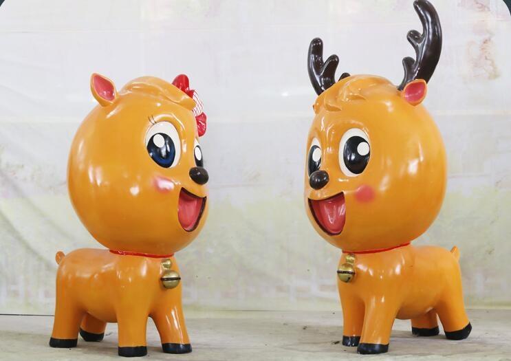 玻璃钢卡通麋鹿雕塑,灵动的麋鹿雕塑!