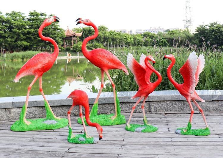 火烈鸟玻璃钢雕塑,庭院花园创意动物摆件!