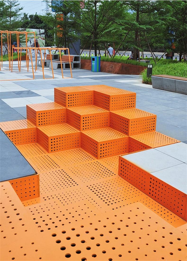 方形广场不锈钢坐凳
