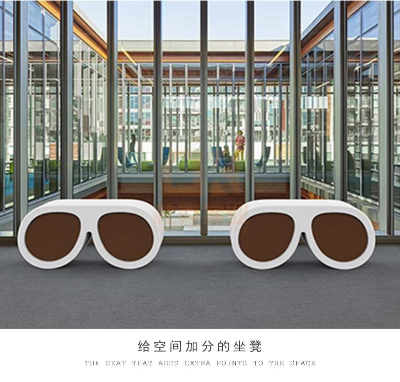 眼镜造型玻璃钢坐凳创意商场休闲椅