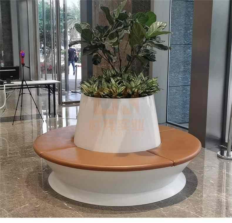 圆形木纹玻璃钢树池坐凳